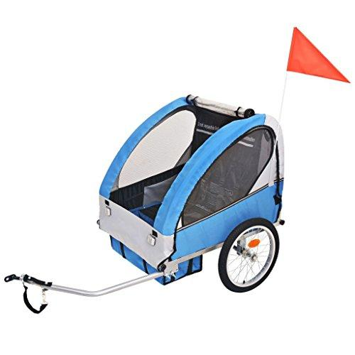 vidaXL Kids' Bicycle Trailer Grey and Blue 30 kg Stroller Jogger Pushchair