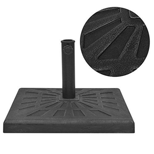 vidaXL Parasol Base Resin Square Black 19 kg Outdoor Umbrella Holder Stand