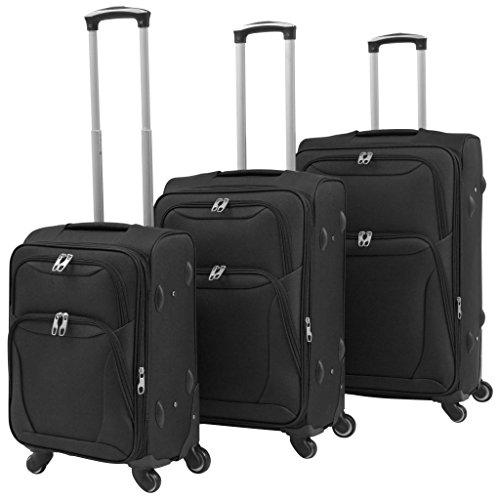 vidaXL Soft Case Trolley Set 3 Piece Black Wheeled Travel Luggage Suitcase Bag