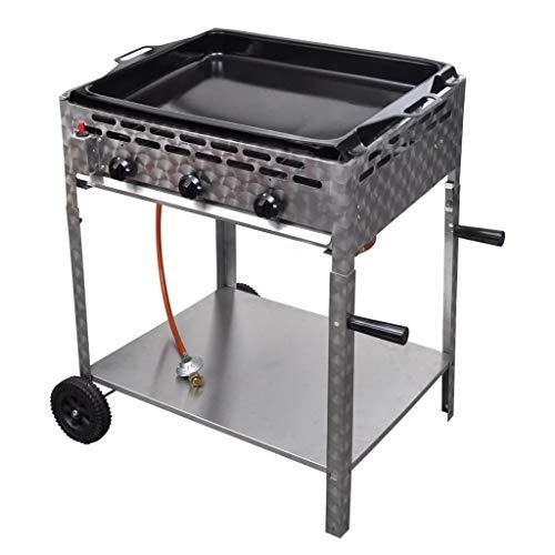 VidaXL Stainless Steel Gas Barbecue 3 Burners Gas Gas Roaster with Enamelled Pan Trolley
