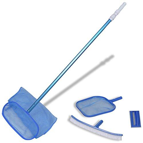 vidaXL Swimming Pool Spa Cleaning Tool Set Leaf Skimmers/Brush/Scrubber/Pole