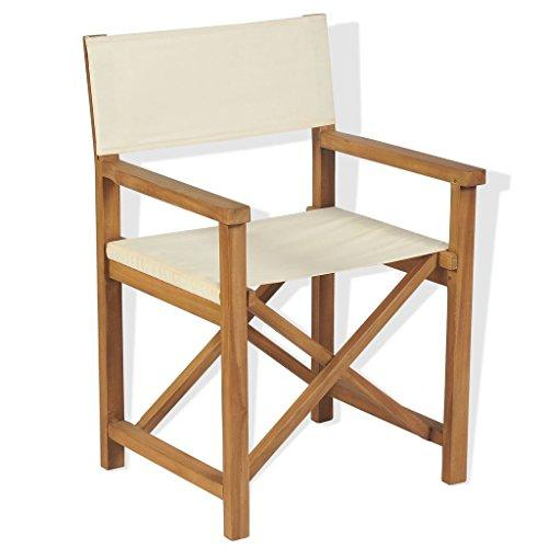 vidaXL Teak Outdoor Director Chair 58x53x85cm Garden Furniture Foldable Seat