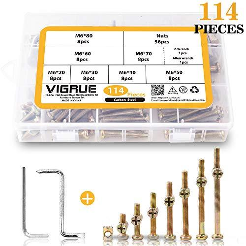 VIGRUE M6 Bolts Nuts Kit Hex Socket Head Cap Screws Nuts 114PCS for Crib Bunk Bed Furniture Cot, Barrel Bolt Nuts Hardware Replacement Kit with 2 Wrenches (M6×20mm - M6×80mm)