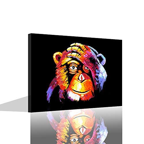 VIIVEI Black Monkey Oil Paintings Picture Printed On Canvas Paintings Modern Framed For Livingroom House Decoration Kids Room Wall Art Ready To Hang