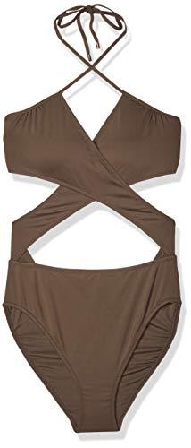 Vince Camuto Women's Wrap one Piece Swimsuit with Removable Soft Cups Surf Shades Bonsai, 12