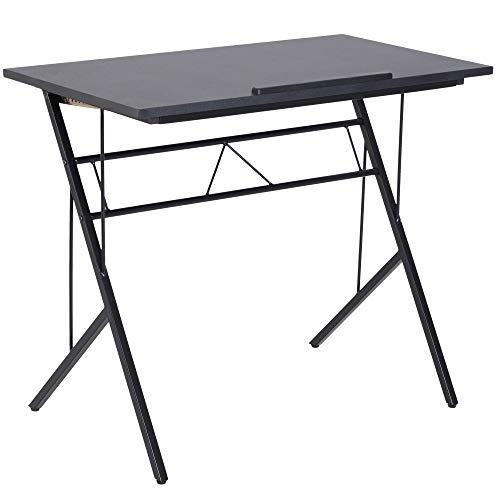 Vinsetto Computer Desk Writing Workstation Art Drawing Drafting Board Craft Table Tiltable Tabletop Adjustable Height Black 90L x 50W x 76-91H cm