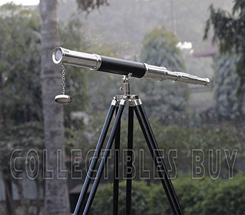 Vintage Chrome Brass Black Leather Antique Telescope Brown Tripod