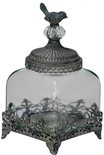 Vintage Style Little Bird Filligree Low Glass Jar for the Bathroom Bedroom or even the kitchen