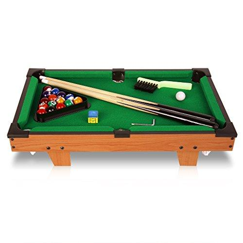 "Virhuck 20"" Mini Wooden Table Top Pool Table Game Billiard Snooker, 51.5 x 32cm, Billiard Table Set with Balls, Cus, Chalk, Rack, Billiard Table for Children Indoor and Outdoor"