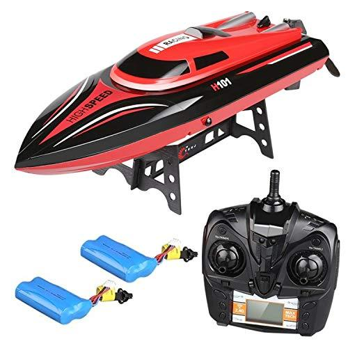 Virhuck Remote Control Boat High Speed 26-30 KM/H, 180° Flip Remote Distance 164 yards, Strong Drive System Waterproof Hull, Anti-Tilt Electric Racing Boat for Children and Adults, Bonus Battery