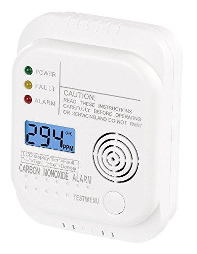 VisorTech carbon monoxide alarm, carbon monoxide detector, alarm with lcd display, made to DIN EN 50291-1 standard (gas warning system)