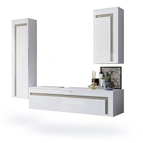 Vladon Bathroom Furniture Set Storage Cabinet Aloha, Carcass in White matt/Fronts in White High Gloss Offsets in Sand grey High Gloss