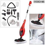 Voche Red & Black 1300W 16-in-1 Upright Steam Mop with Detachable Hand-Held Steam Cleaner with Attachments and Accessories - Includes Steam Window Cleaning Attachment and Garment Steamer!