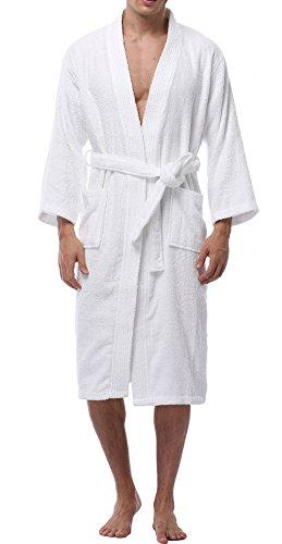 VOGMATE Men's 100% Turkish Cotton Kimono Bathrobe Long Lightweight Terry Towelling Dressing Gown