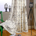 VOGOL(2 Panels) Ultra Sleep Vines Embroidered Faux Linen Grommet Curtains for Living Room,Energy Efficient Window Treatment Panels,52 x 84 Inch, Grey