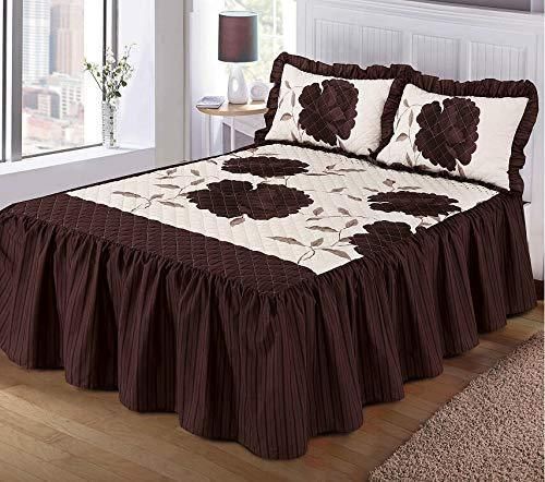 voice 7 Luxurious ROSALEEN Quilted Bedspread Floral ~ VALANCE Style 23 inch Deep Frilled Bedspread with Two Pillow Shams (Chocolate, Double 3 Piece Set)
