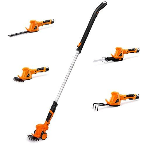 VonHaus 10.8V Li-ion 4 in 1 Cordless Grass Trimmer – Hedge Cutter, Grass Shear, Cultivator and Reciprocating Saw in One with Soft Grip Handle