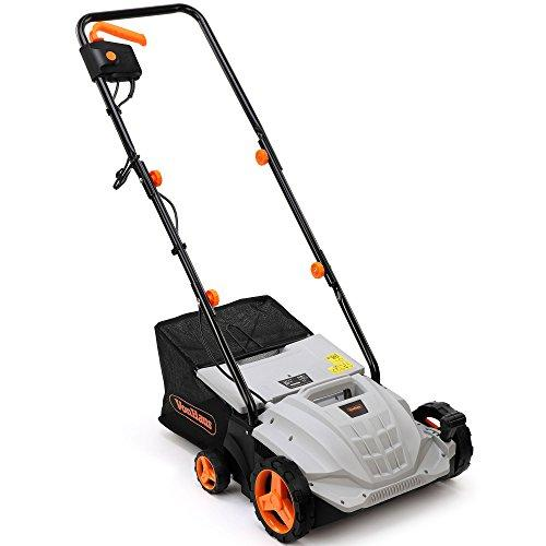 VonHaus 2 in 1 Lawn Scarifier and Aerator – 1500W Electric Garden Rake with 4 Working Depths & 10m Power Cable