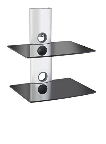 VonHaus 2-Tier Black Floating Shelves with Silver Bracket Mount | Strengthened Tempered Glass | For DVD Players, Game Consoles, TV Accessories