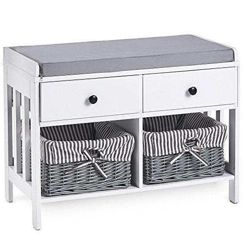 VonHaus Hall Seat & Storage Unit. Hallway White & Grey MDF Storage Furniture - Drawers & Wicker Baskets with Striped Washable Lining & Bow Detail. Ideal For Scarves, Gloves, Hats, Bags & Mail
