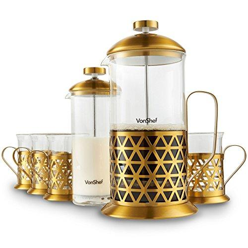 VonShef 8 Cup Brushed Gold French Press with 4 Cups and Milk Frother
