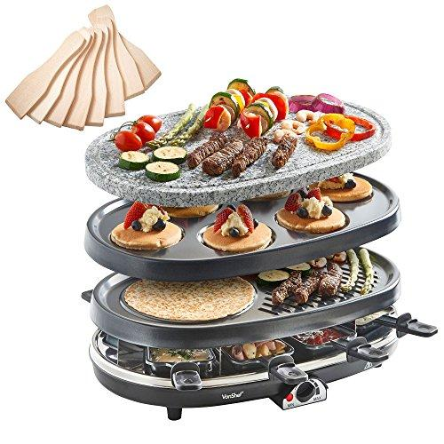VonShef 8 Person 3 in 1 Raclette Grill with Natural Stone & Traditional Plates, Fondue Warmer & Tapas & Mini Crepe Maker includes Spatulas & Pans