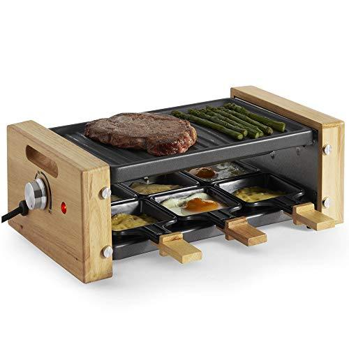 VonShef Raclette Grill with 6 Mini Pans, Non-Stick Plate and Adjustable Temperature Control - 6 Person - 900W