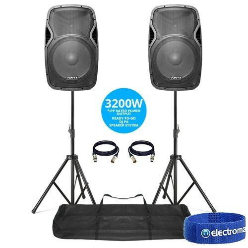 "Vonyx 2x AP1500A Active 15"" Inch DJ Disco PA Speakers + Stands - 1600W Max Kit"