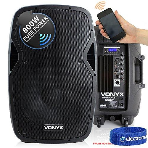 "Vonyx Active Powered DJ PA Speaker Wireless Bluetooth Audio Streaming 15"" 800W"