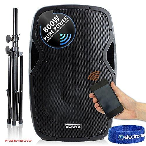 "Vonyx Active Self Powered DJ PA Speaker Wireless Bluetooth 15"" with Stand 800W"