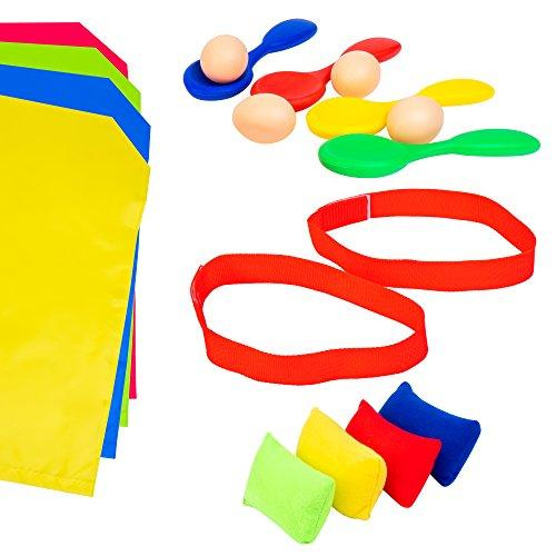 Voucchi Outdoor Birthday Party Games for Kids, Tested & Proven, Amazing Fun For All, 4 in 1 Favorites are Potato Sack Race, Egg & Spoon Race, 3 Legged Race & Bean Bag Toss