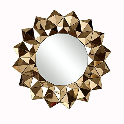 W HD Bathroom Mirror European Interior Bedroom Living Room Anti-fog Home Decoration Mirror 80x80cm (Color : Gold)