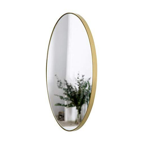 W Round Makeup Mirror Wall Mounted Gold Interior Bedroom Living Room Frame Metal Home Decoration Mirror (Size : 60CM)