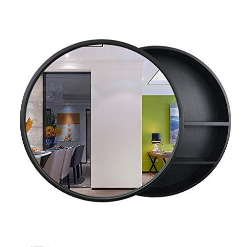 W Solid Wood Home Decoration Mirror Wall Hanging Indoor Bedroom Living Room Bathroom Mirror Cabinet (Color : BLACK, Size : 50cm)