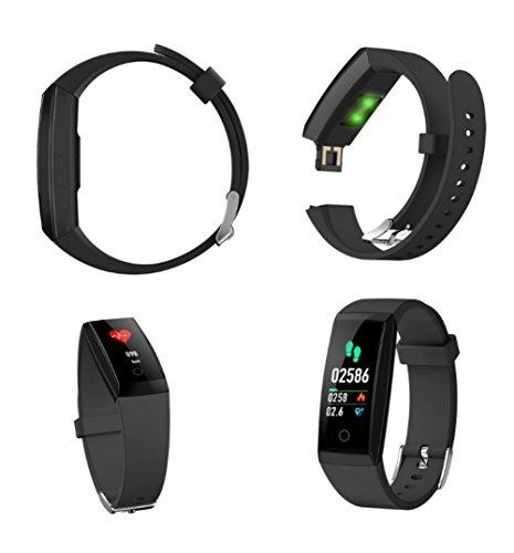W8 Fitness Tracker Heart Rate Monitor Smart Bracelet With Sleep Monitor, Step Counter, Bluetooth 4.0, IPX7 Waterproof Activity Tracker Smart Watch for Android&iOS Smart Phone (Black)
