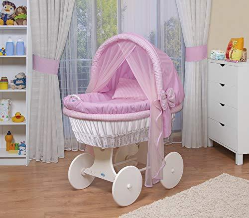 WALDIN Baby wicker cradle,Moses basket,44 models available,white painted stand/wheels,textile colour pink/squared