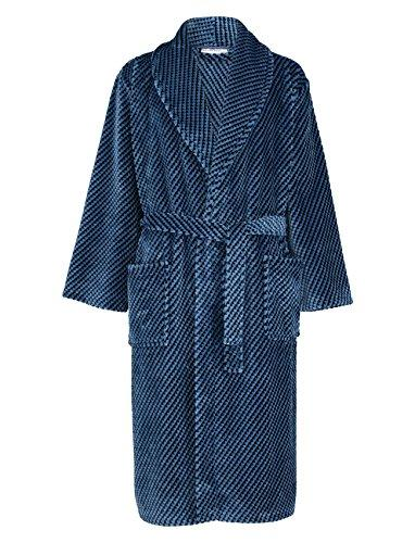 Walker Reid Mens Super Soft Fleece Dressing Gown Harlequin Check Luxury Bath Robe Medium (Blue)