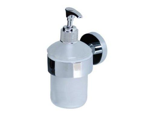 Wall Mounted Bathroom Frosted Glass Soap Dispenser & Holder - Chrome