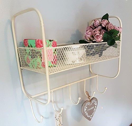 WALL MOUNTED METAL WIRE BASKET SHELF UNIT WITH 5 COAT RACK HOOKS, SHABBY CHIC FRENCH VINTAGE STYLE, ANTIQUE CREAM.