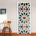 Wallflexi Door Stained Glass Home Decoration Wall Art Murals Decals Living Room Nursery Restaurant Hotel Café Office Décor Removable Self-Adhesive Stickers, Vinyl, Multicolour, 200 x 88 x 0.03 cm