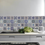Wallflexi Wall Stickers Spanish Blue Tiles Wall Art Murals Removable Self-Adhesive Decals Office Home Decoration, Multi-Colour, Pack of 4
