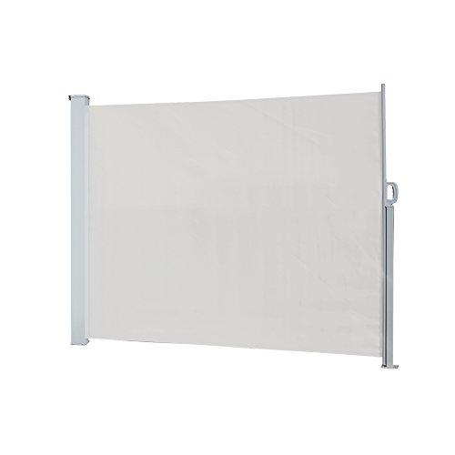 Waltons Retractable Garden Side Awning Privacy Blind Waterproof Polyester Fabric Outdoor Screen Panel for Wind & Sun Protection (160 x 300cm, Cream)