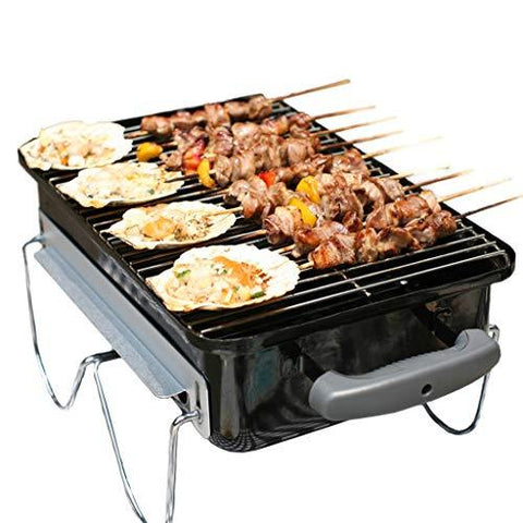 WANG LIQING Barbecue Grill Stainless Steel BBQ Charcoal Grill Smoker Barbecue Folding Portable for Outdoor Cooking Camping Hiking Picnics (Color : Black)