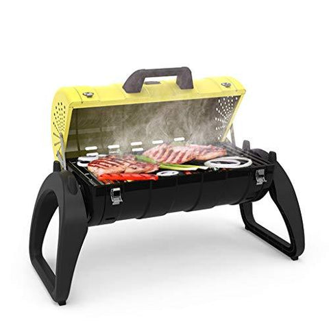 WANG LIQING Household Charcoal Wild Oven Folding Grill Oven Outdoor Portable Grill BBQ Charcoal Smoker Barbecue Folding Portable for Outdoor Cooking Camping Hiking Picnics (Color : Yellow)