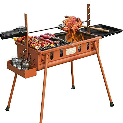 WANG LIQING Wild Barbecue Grill Stainless Steel BBQ Charcoal Smoker Barbecue Folding Portable for Outdoor Cooking Camping Hiking Picnics (Color : Iron red)