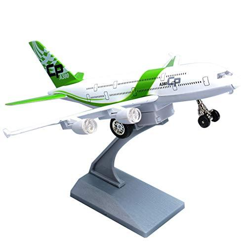 WangQ Aircraft model - Kawei Airbus A380 alloy aircraft model children's gift simulation passenger aircraft model boy toy sound and light pull back /// (Color : Green)