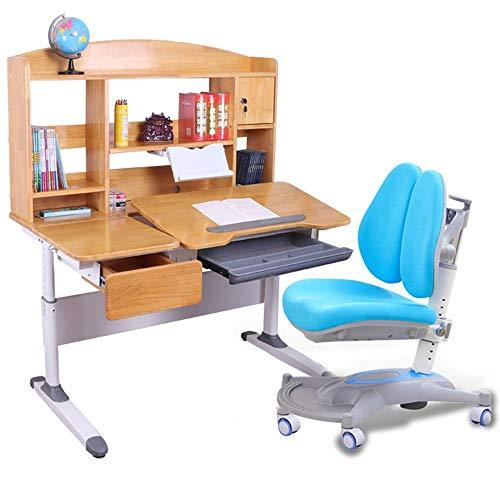 Wanlianer-Home Child Study Desk Chair Set Childrens Study Desk Chair Table Set Tiltable Table And Chair For Kids Art Wooden Table Set Work Station Height Adjustable (Color : Blue)