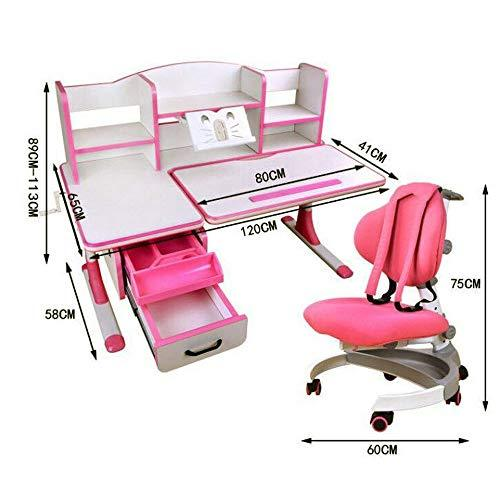 Wanlianer-Home Child Study Desk Chair Set Desk Chair Set Multi-functional Desk And Chair Set Childen Kids Study Table School Student Desk Book Stand Height Adjustable (Color : Pink, Size : One size)
