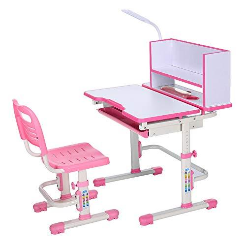 Wanlianer-Home Child Study Desk Chair Set Desk Chair Set Multi-functional Desk And Chair Set Childen Kids Study Table School Student Desk Book Stand Height Adjustable (Color : Pink)