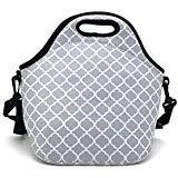 Wanty Big Capacity Reusable Zipper Thermal Neorpene Insulated Lunch Cooler Lunch Bag Tote / Lunch Box / School Student Lunch Bag / Picnic Bag Fruit Fresh Bag Travel Organizer (Latern Gray)